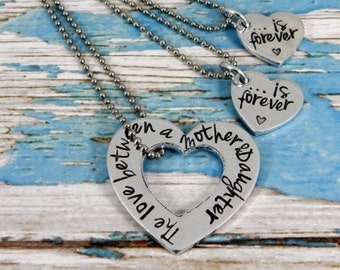 Mother and Daughter necklace set. The love between a Mother and Daughter is forever.