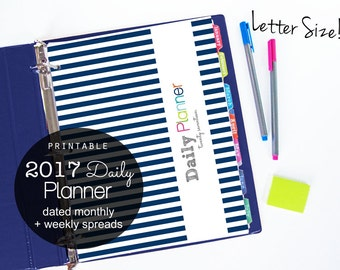 50% OFF 2017 Daily Planner Pdf Printable Pages - INSTANT DOWNLOAD - Navy Stripe, dated Jan 2017 to Dec 2017