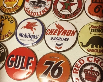 12 Gas Station Sign Magnets w/pics of Vintage Gas Station signs, tool box magnets, fridge magnets. 2.25 inches