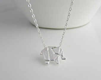 Origami Elephant Necklace, Elephant Necklace, Wild Animal Necklace, Animal Lover Necklace, British Seller UK, Girl Gifts, Elephant Jewellery