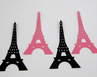 Pink and Black Eiffel Tower Die Cut Shapes Scrapbooking DIY Crafts Birthday Party Confetti Cupcake Toppers Classroom Crafts