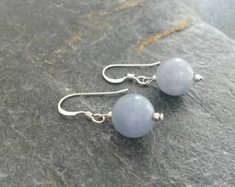 Blue Angelite Earrings & Sterling Silver Earwires/Blue Earrings/Blue Jewelry/Gemstone/Angelite Jewelry/Pantone 2016/Angelite Beads/Serenity