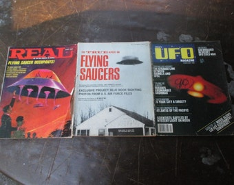 3 Diff UFO MAGAZINES 1960s-70s Aliens Martians Space Ship Travel UFOs Area 51 #5