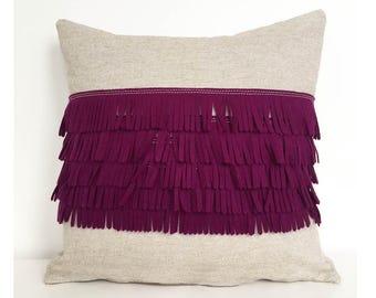 Felt Fringe Pillow in Berry Plum Felt and Oatmeal Cotton-Linen