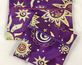 Celestial cosmetic bag set, celestial sun coin purse, purple sun bag set