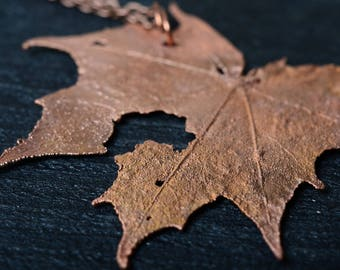 minimalist copper pendant nature leaf necklace electroplating unique necklace gift for woman maple leaf necklace