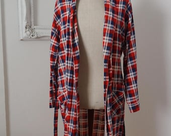 Vintage Light Cotton Red White and Blue Plaid Flannel Bath Robe
