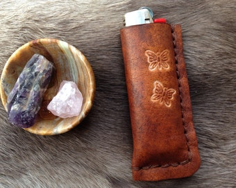 handmade leather bic lighter case with butterflies, lighter pouch, leather lighter leash, lighter case, leather bic cover, third anniversary