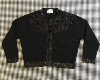 1960's, black, beaded, cardigan, Women's size 42 (Medium/Large)