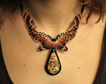 Safari Jasper (Leopardite) Black Brown Orange Macrame Necklace Handmade with Safari Jasper stone cabochon