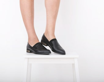 Women's Pointy flats black leather Slip-Ons shoes, handmade ADIKILAV new collection , ON SALE 20%