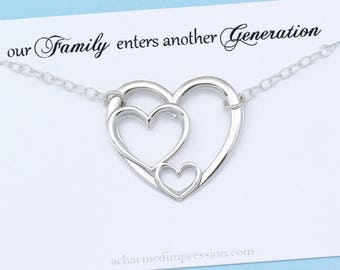 New Grandmother Gift • Baby Announcement Necklace • Triple Heart Necklace • 3 Generations • Grandmother Mother Grandchild • Sterling Silver