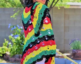 Rastafarian Virus Shawl/ Crochet Virus Shawl/ Crochet Wrap/ Virus Wrap/ Shawl Scarf