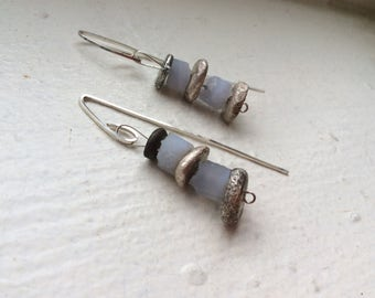 Sterling Silver Blue Chalcedony Druzy Stones Earrings Disc Dangle Earrings