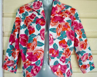 c1950s/1960s cotton blouse pink and red roses petite size 8