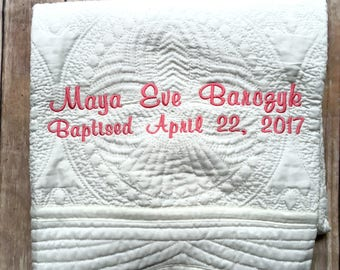 Baptism quilt etsy monogrammed baby quilt personalized baby blanket christening gift baptism baby gift baptism negle Image collections