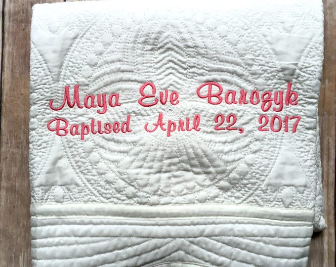 Monogrammed Baby Quilt, Personalized Baby Blanket, Christening Gift, Baptism Baby Gift, Baptism Gift, Personalized Baby Quilt, Christening