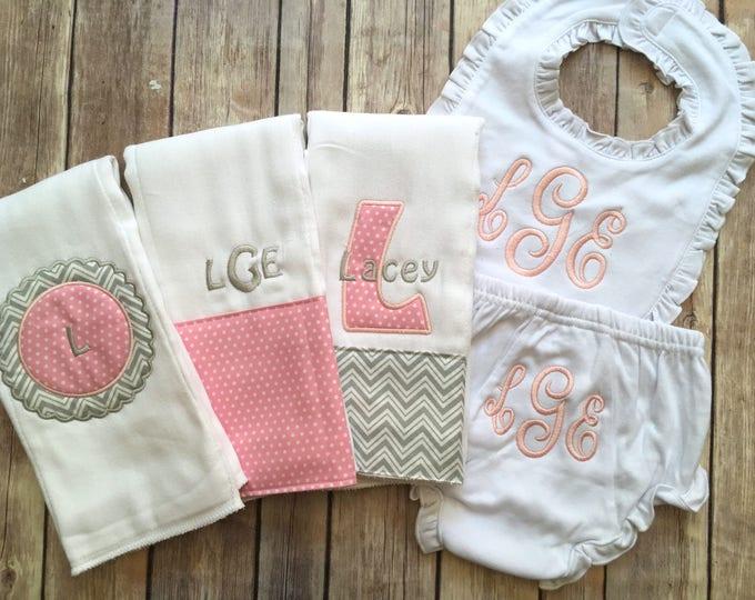 Monogrammed Baby Girl Gift Set, Personalized Baby Girl Gift, Baby Shower Gift, New Baby Girl, Personalized Girl Burp, Custom Baby Gift, Pink