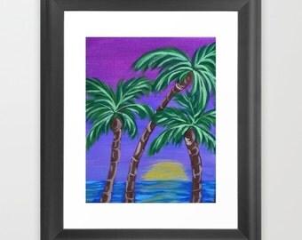 Palm Tree Painting Print - Vacation - Caribbean / Hawaiian Beach - Tropical - Palms - Purple - Tree Art