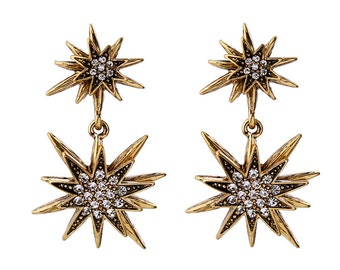 reproduction of 50s/early 60s star earrings - gold with rhinestones - metal with studds