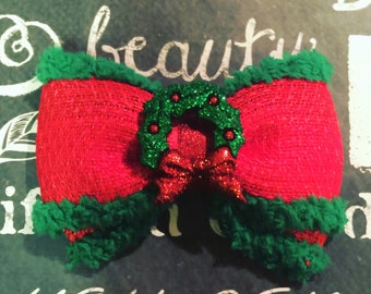 """Bows for Dogs or Girls - 2"""" Christmas Wreath Mini Bow - Holiday Bows - Dog Bows - Christmas Bows - Red Bows - Bows - Bows for Girls - Wreath"""