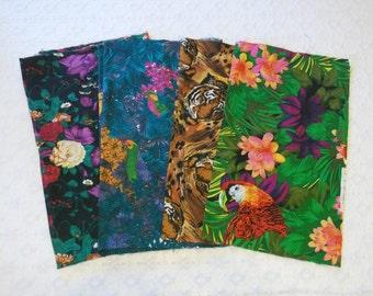 Vintage Black Tropical Jungle Floral Tiger Cotton Fabric Lot 4pc