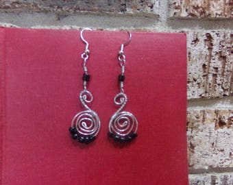 Long Spiral Earring in Black and Silver