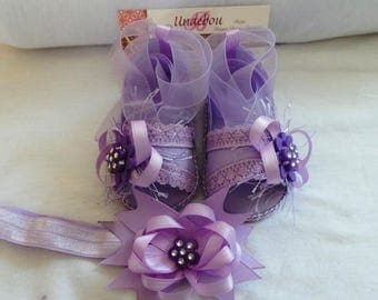 BS 031  Purple Sandals and Headband Set -  Sandals for baby girl - Baby Girl Sandals and Headband