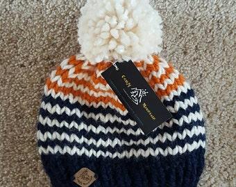 Youth knit beanie with pom pom/ kids knit hat with pom pom/ knit beanie with pom pom/ winter hat/christmas gift/ toddler beanie/kids gift