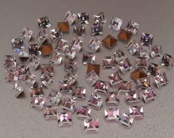 3x3 MM Square Clear Swarovski Crystals ~ 8 Pieces Per Order ~ Foil Back ~ 1st Quality Clear Crystal ~ Vintage Swarovski Components