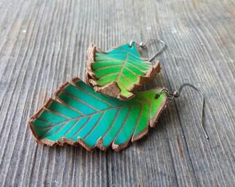 Falling leaves.Leather earrings