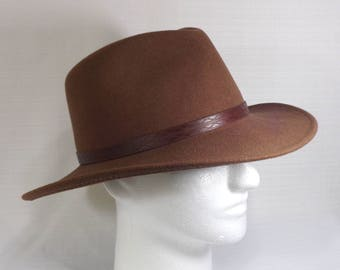 Bailey Fedora Hat Lite Felt - 100% Wool Felt - Felt Fedora Hat - Size Large L - Made in USA - Brown