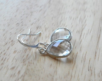 GEMSTONE DROP EARRINGS- Rock Crystal Earrings- Teardrop Gemstone Earrings in Gold or Silver- April Birthstone