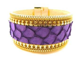 Fish Tilapia purple, zip through Golden leather bracelet
