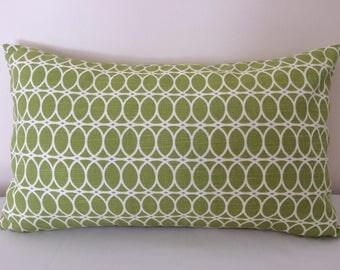 Citrine Lumbar Pillow Cover, 12''x20'' Trellis Pillow Cover, HGTV Citrine/White Pillow Cover