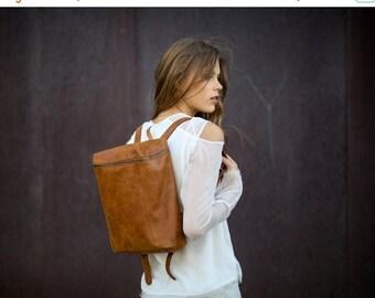 Sale, Leather Women Backpack, Brown Satchel Bag, Small Travel Bag, Leather Bag, Rucksack, Handmade
