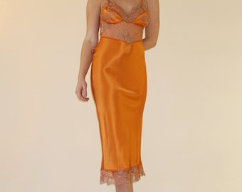 FRENCH LACE Silk Slip Dress | Gorgeous Marigold Pure Silk with French Lace | Incredible Retro Look | Bodice Lace Lined with Silk