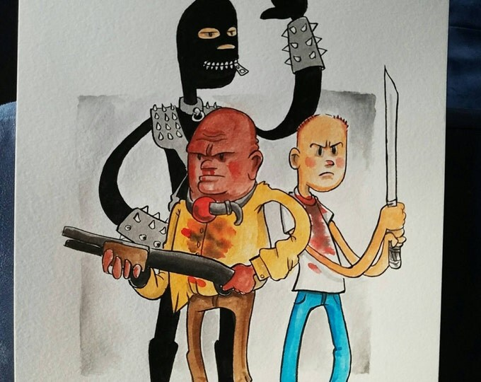 Ink and Watercolor - Butch Marcellus and the Gimp - Pulp Fiction