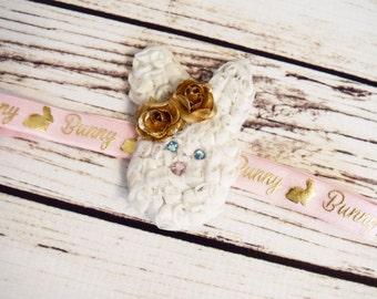 Handcrafted White Pink and Gold Easter Bunny Headband - Easter Baby Bows - Easter Rabbit Accessory - Gold Rose Headband - Toddler Headbands