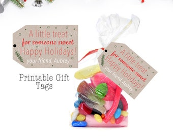 School classmate/Student Christmas Gift Tags/Teacher Class Holiday Gift Tags/Printable-A little Treat, for someone Sweet