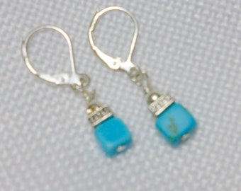 Turquoise and silver earrings - Lever back Earrings - earrings - Turquoise earrings - dangle earrings - stocking stuffers