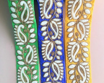 Green / Yellow / Blue Fabric Trim With Off White And Gold Floral Embroidery, 55mm wide - 200317L517/18/19