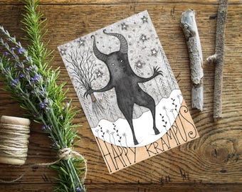 Sale! Krampus Card - Happy Krampus Christmas Holidays Winter Solstice - Pagan Yuletide Folk Legend Fairytale Halloween Greetings Card -