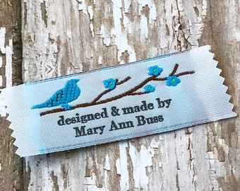 Custom Clothing Labels, Sewing Tags, Knitting Labels 20 Labels Bird on a branch design Imprinted with your own text