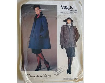 "UNCUT Vogue American Designer 1434 Oscar de La Renta Swing Winter Wool Coat Bust 38"" UK 16"