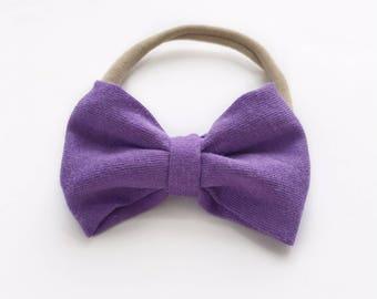 Purple Hair bow, Nylon Headband, Newborn Bow, Small hair bow, pig tail bows, coming home outfit, lavender hair bow