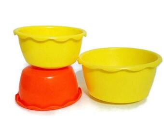 Small Bowls Plastic Blisscraft of Hollywood Mid Century Kitchen Yellow Orange