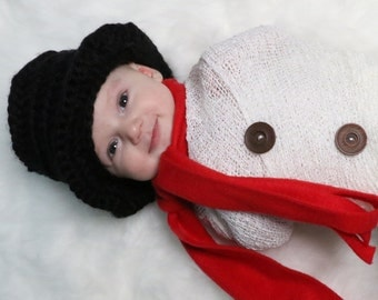 Snowman Hat, Ready to ship, Christmas Hat, Baby, Top Hat, Tophat, New Year's Eve, Kids, Baby Snowman Hat, Toddler, Child, Prop, Photo