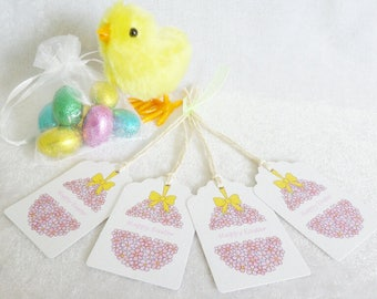 Easter Pink Flowers Gift Tags - set of 4 tags