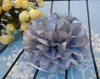 12x Silver mini tissue paper pom pom | Wedding Baby shower Party Engagement Bridal Shower Table Centerpiece Decoration